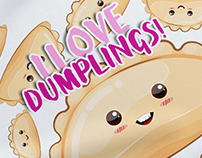 Cute & funny dumplings illustration and patterns!