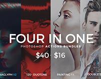 4 in 1 Photoshop Actions Bundles