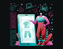 Shopping in Cyber Monday Illustration