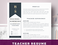 Teacher Resume Template for word & Pages - cv template