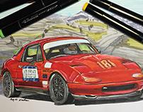 Racing Miata Drawing