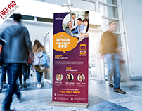 Corporate Conference Roll Up Banner PSD