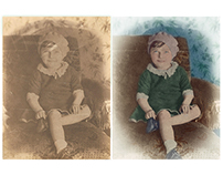 Restoration & colorisation - photograph of a young girl