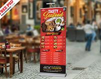 Outdoor Restaurant Food Menu Roll-up Banner PSD