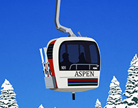 Aspen Ski Resort Vintage Gondola Poster