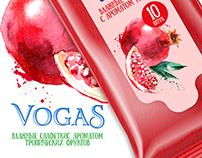 "Packaging design for wet wipes "" Vogas """