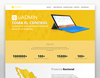 uADMIN landing page design
