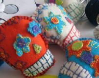 Felt mexican skulls
