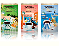 Illustrated sleeves for Zoéga's Coffee