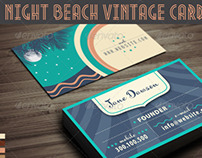 Night Beach Vintage Business Card