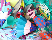 Whimsical Garden Papercut Install for H&M Kids