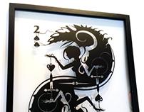 Deux-ality handcut silhouette papercut