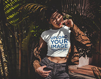 Beautiful Girl Wearing a Crop Top T-Shirt Mockup