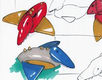 Inflatable Pterodactyl pool ride.
