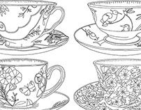 Crabtree and Evelyn Cups and Saucers Booklet drawings