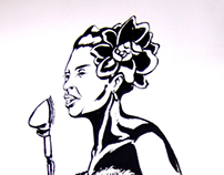 """""""Billie Holiday"""" - illustrazione realizzata su muro"""