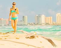 Beach, Girl & Bird in Cancun Mexico