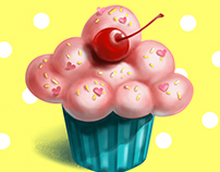 Bon appetit! Tasty sketches. Cupcake illustration.