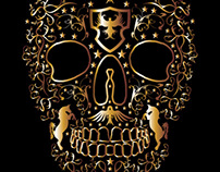 tattoo tribal gold skull vector art