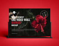 Free LED Video Wall Banner Mockup