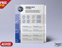 A4 Size Beautiful and Designer Resume PSD Template