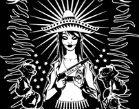 Estampa Virgen y Rosas para Roll Arg
