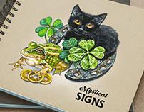 Hand-drawn illustration within mystical theme