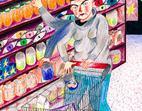 Angry woman buying in an angry way