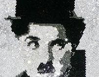 Charlie Chaplin Swarovski Crystal Art