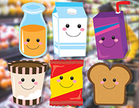 Happy Grocery Characters