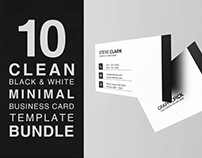 10 Clean Minimal Business Card Bundle