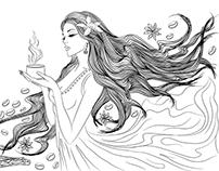 Girls with long hair line art