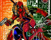 Deadpool and Spiderman Inking and Coloring