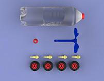 Reused bottle car toy