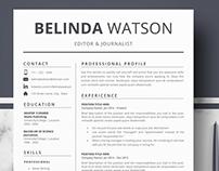 Minimalist Resume template - CV template - Belinda