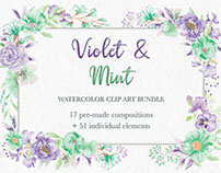 Watercolor clip art bundle in violet and mint blooms