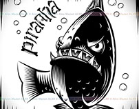 Fish Piranha Ink Hand Drawing Tattoo Print Character