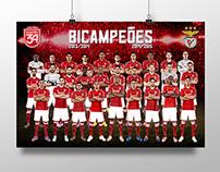 SL Benfica Bicampeões Nacionais Posters