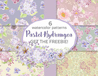 'Pastel Hydrangea': 6 watercolor patterns