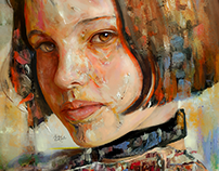 Mathilda ( Mixed Media oil painting + Digital )
