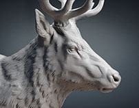 Deer head sculpture 3d model. STL, OBJ