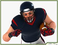 3D Model: White American Football Player HQ 005