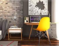 Semi-Industrial Bedroom Design & Visualization