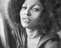 Pam Grier Digital Oil Painting by Wayne Flint