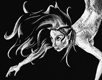 o mermaid: Scratchboard to poster