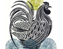 Great Bardfield Lino Print cockerels