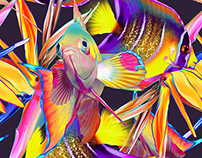 SEAMLESS PATTERN. Strelitzia & fish