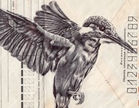 Bic biro drawing on vintage USSR envelope.