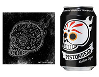 Pistonhead Lager Skull Illustration