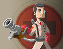 "Releitura do ""Medic"" personagem de ""Team Fortress"""